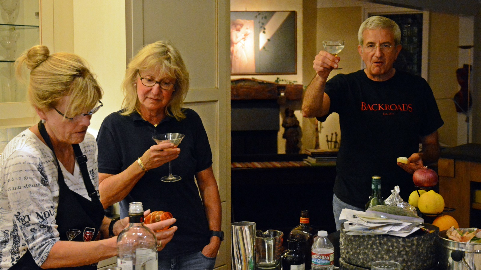 1 Steve Rossi toasting while Donna is mixing and Jetti Guenthard watching