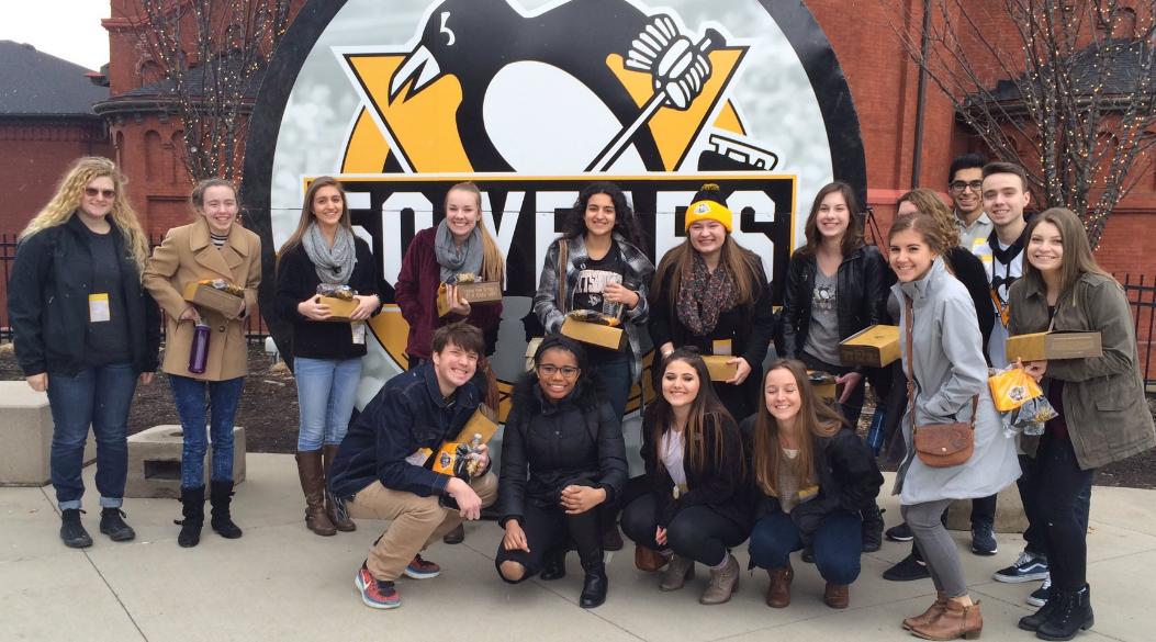 Photo: 2017 Pittsburgh Data Jam student field trip to meet Pittsburgh Penguins Analytics Team.