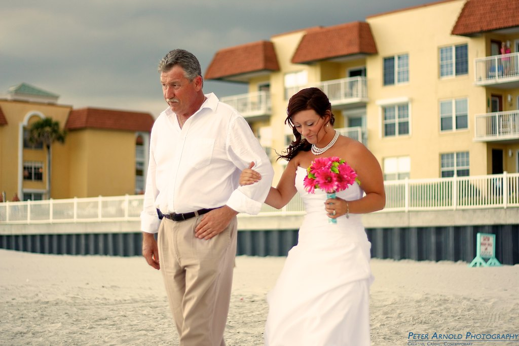 New Smyrna Beach Wedding Bride walking with Dad