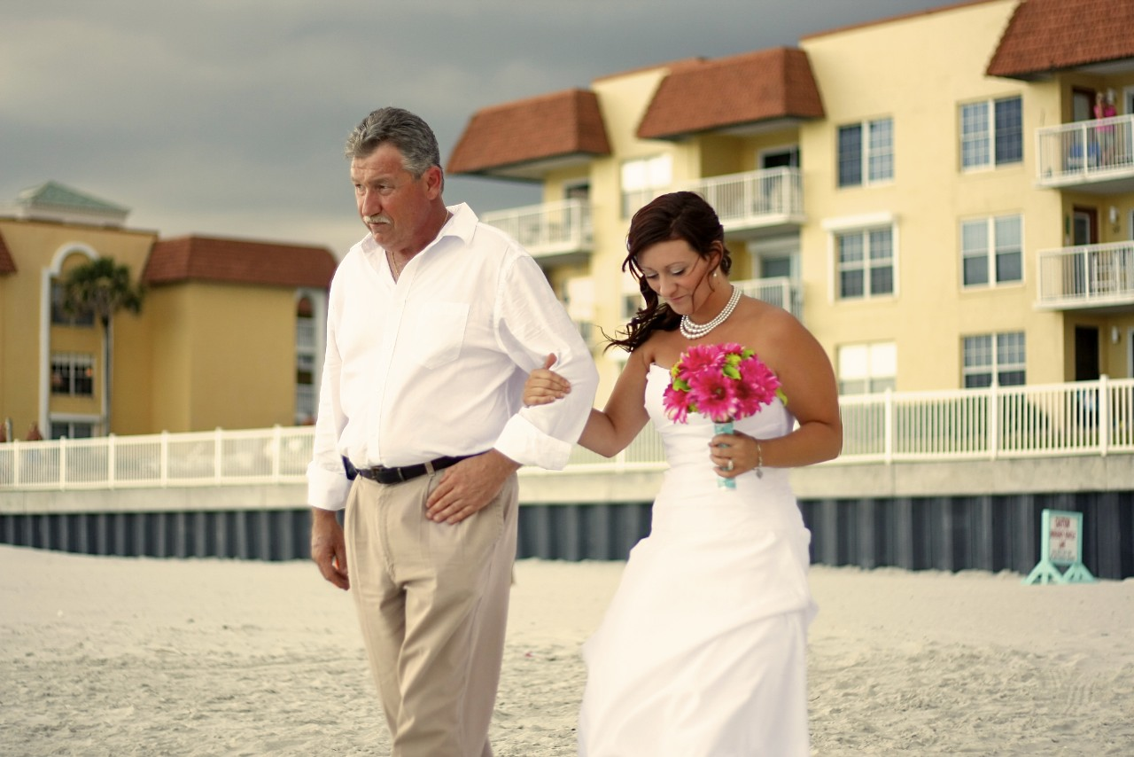 Walking to the wedding with dad