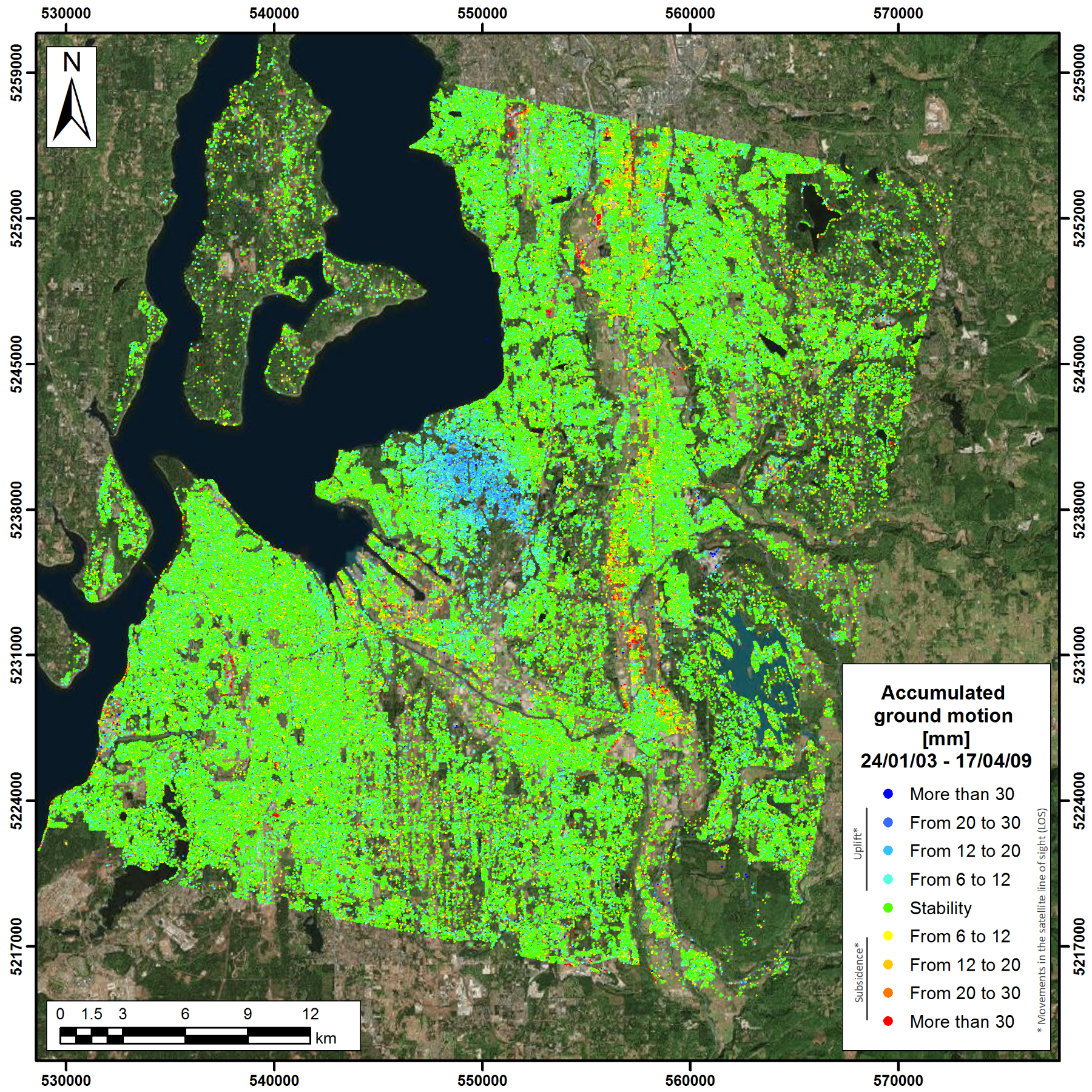 InSAR image showing accumulated ground motion in the greater Tacoma area. Image courtesy of TRE-Altamira.