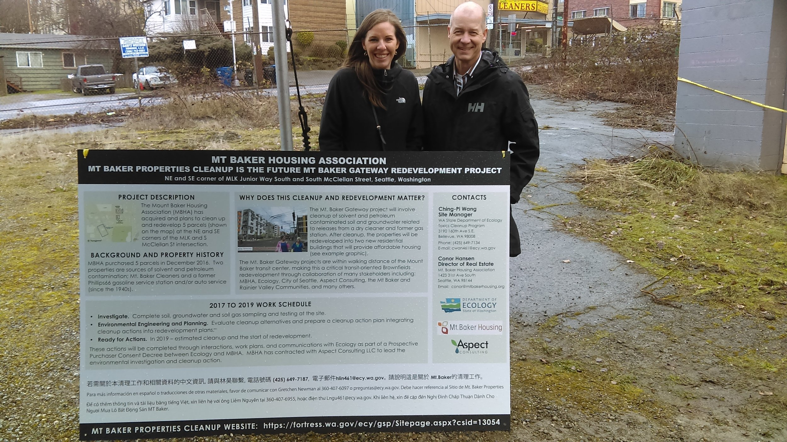 Aspect's Jessica Smith and Dave Cook at the site of the Mt. Baker Gateway project.