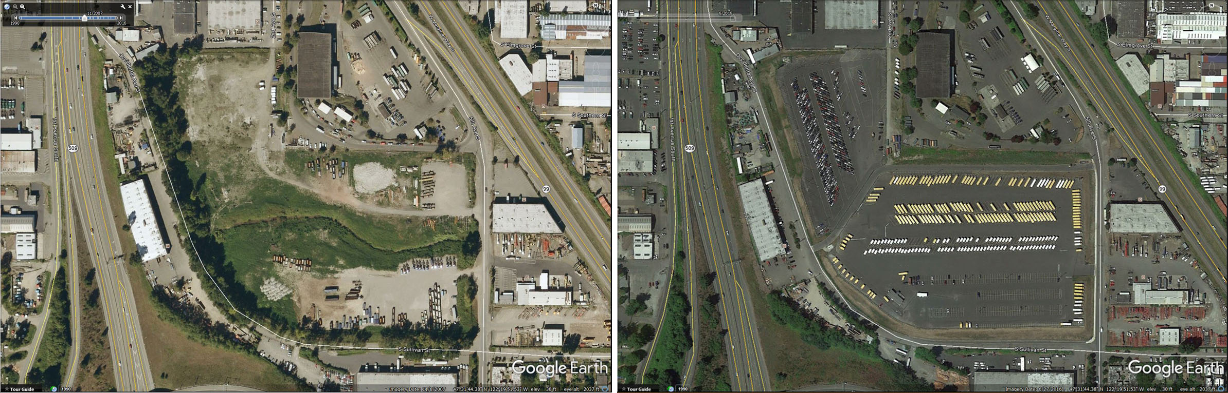 In one example of successful post-closure transition, see Seattle's South Park Landfill before (2007) and after (2016) closure. The landfill was capped and redeveloped as a parking and storage facility.