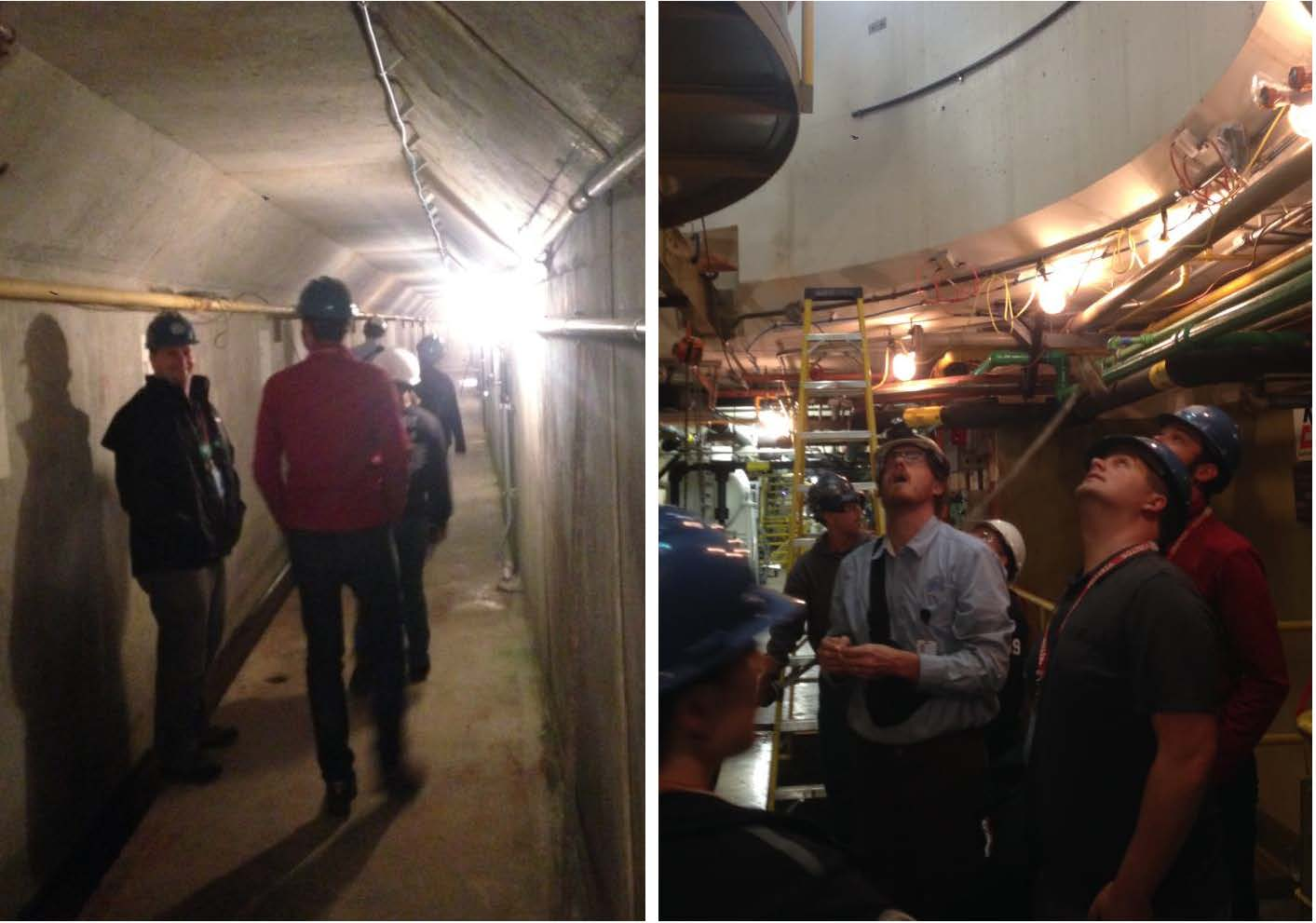 Aspect staff and Douglas PUD engineers explore active retrofitting operations underway for the ten generating units at Wells Dam