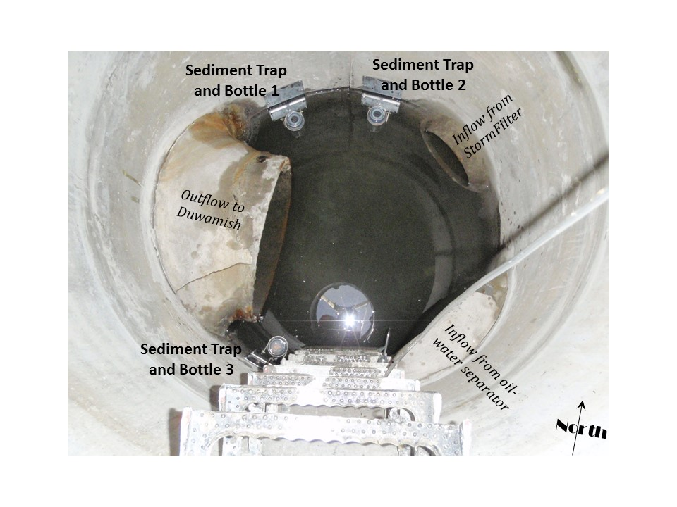 Sediment traps mounted on the side of a storm sewer manhole