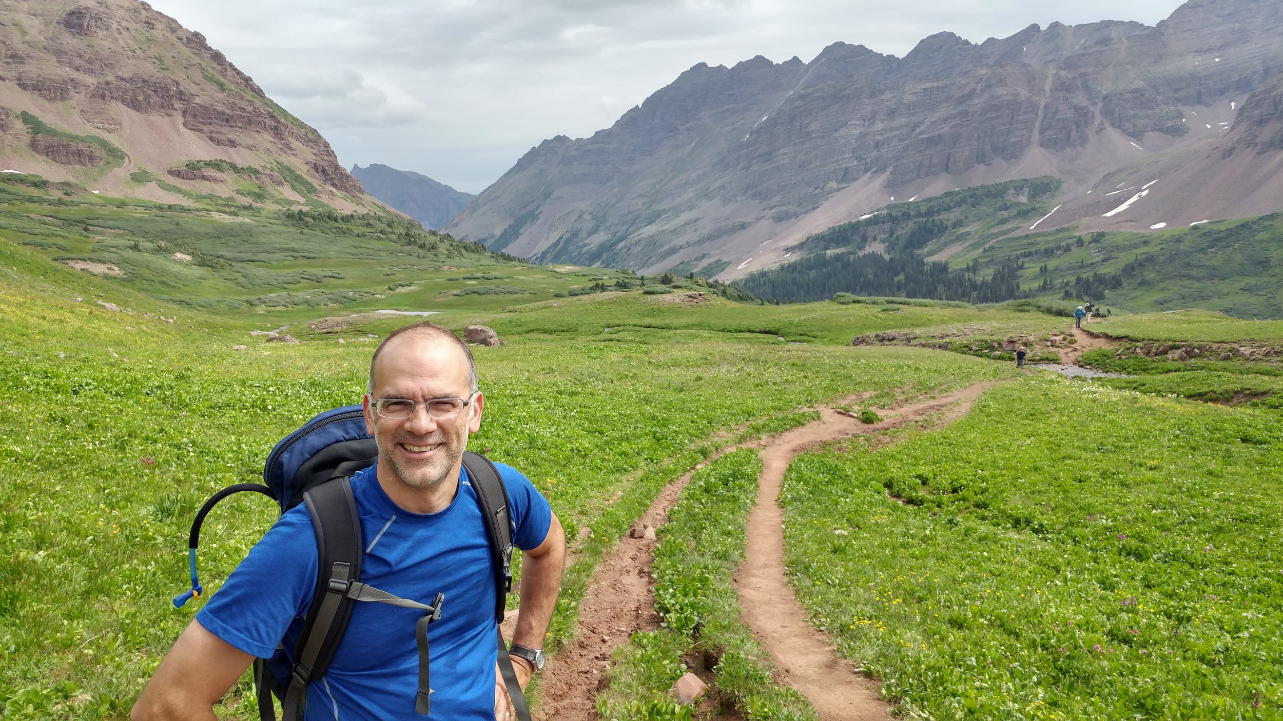 Chris hiking near the Maroon Bells -- two peaks in the Elk Mountains in Colorado.