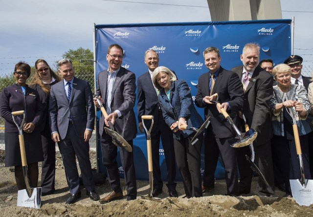 The May 3rd groundbreaking ceremony was attended by various city, county and state dignitaries, including governor Jay Inslee, Congressman Adam Smith, King County Executive Dow Constantine and Alaska Airlines CEO Brad Tilden, as well as Alaska employees and members from the surrounding community.