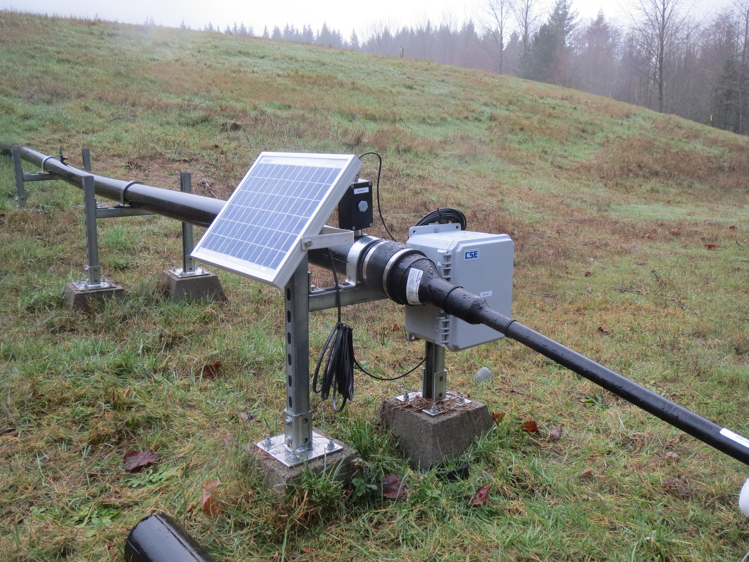 Got methane? CSE remote methane monitoring setup with telemetry and solar panel  on a passive landfill gas collection system in King County, Washington.