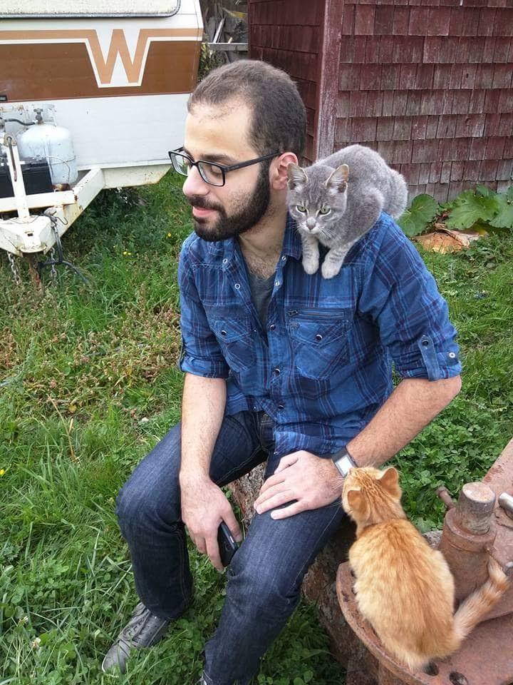 At a Darrington, Washington farm with Bob (grey) and Howard (orange).