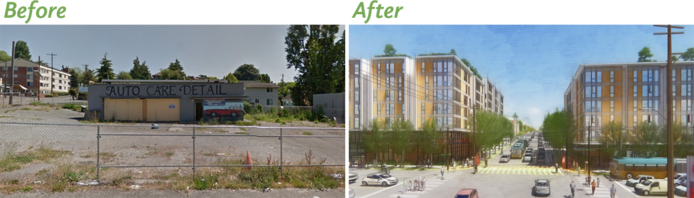 Artist's Before/After rendering of the Mt. Baker neighborhood Affordable Housing project in South Seattle. Remedial investigation is happening now to plan and then clean up historical gas and dry cleaner contamination and set the stage for construction of 160+ affordable housing units across the street from the Mount Baker Light Rail station.