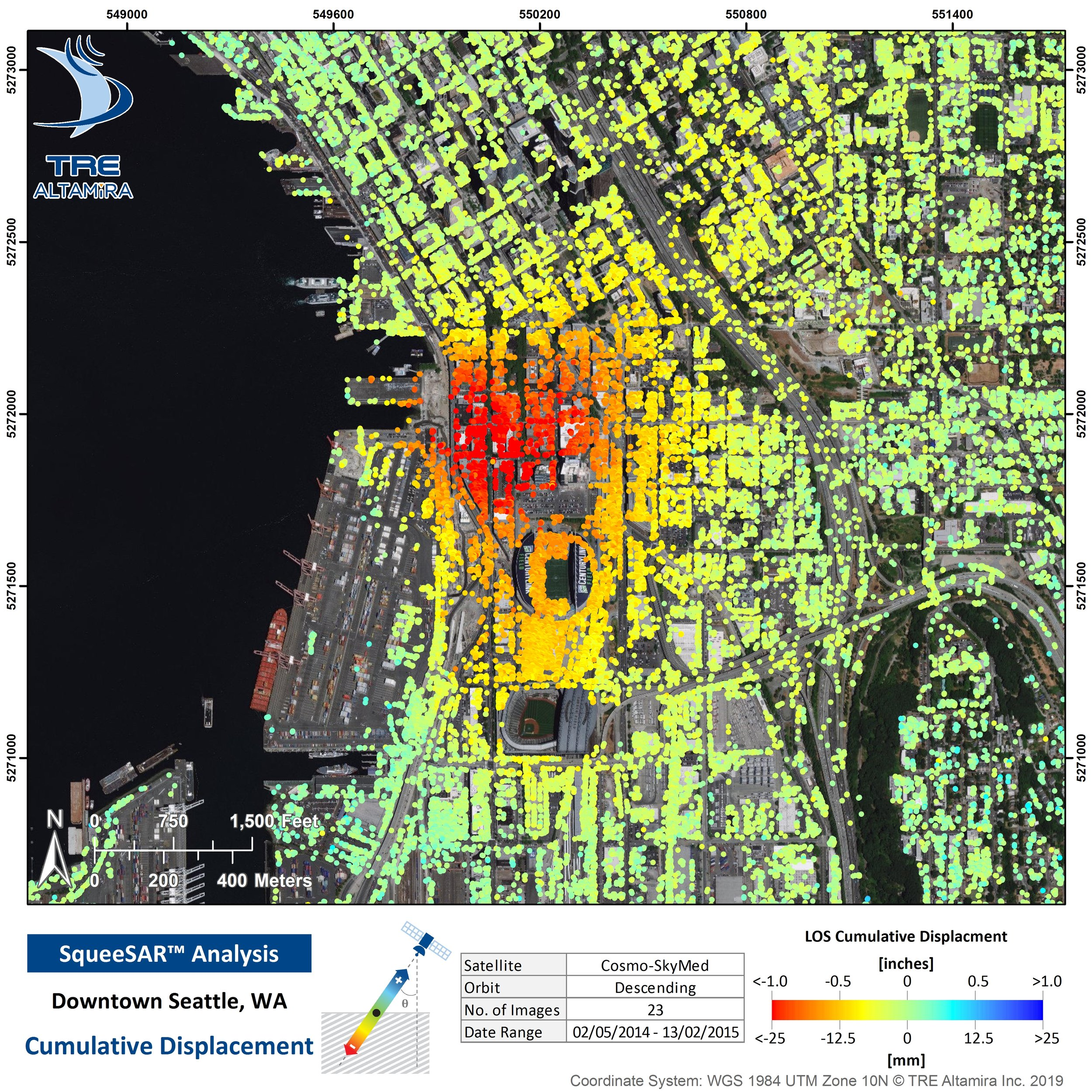 The aerial image of the Seattle waterfront shows locations of satellite radar altimetry points TRE Altamira used to measure precise changes in ground surface elevation from May 2014 through February 2015, which included the period of Bertha rescue shaft dewatering. The colors of the dots represent the cumulative change in elevation, with hot colors showing subsidence and cool showing uplift. The orange and red areas show the broad pattern of ground subsidence associated with the shaft dewatering. For more information on this technology, visit    TRE Altamira   .