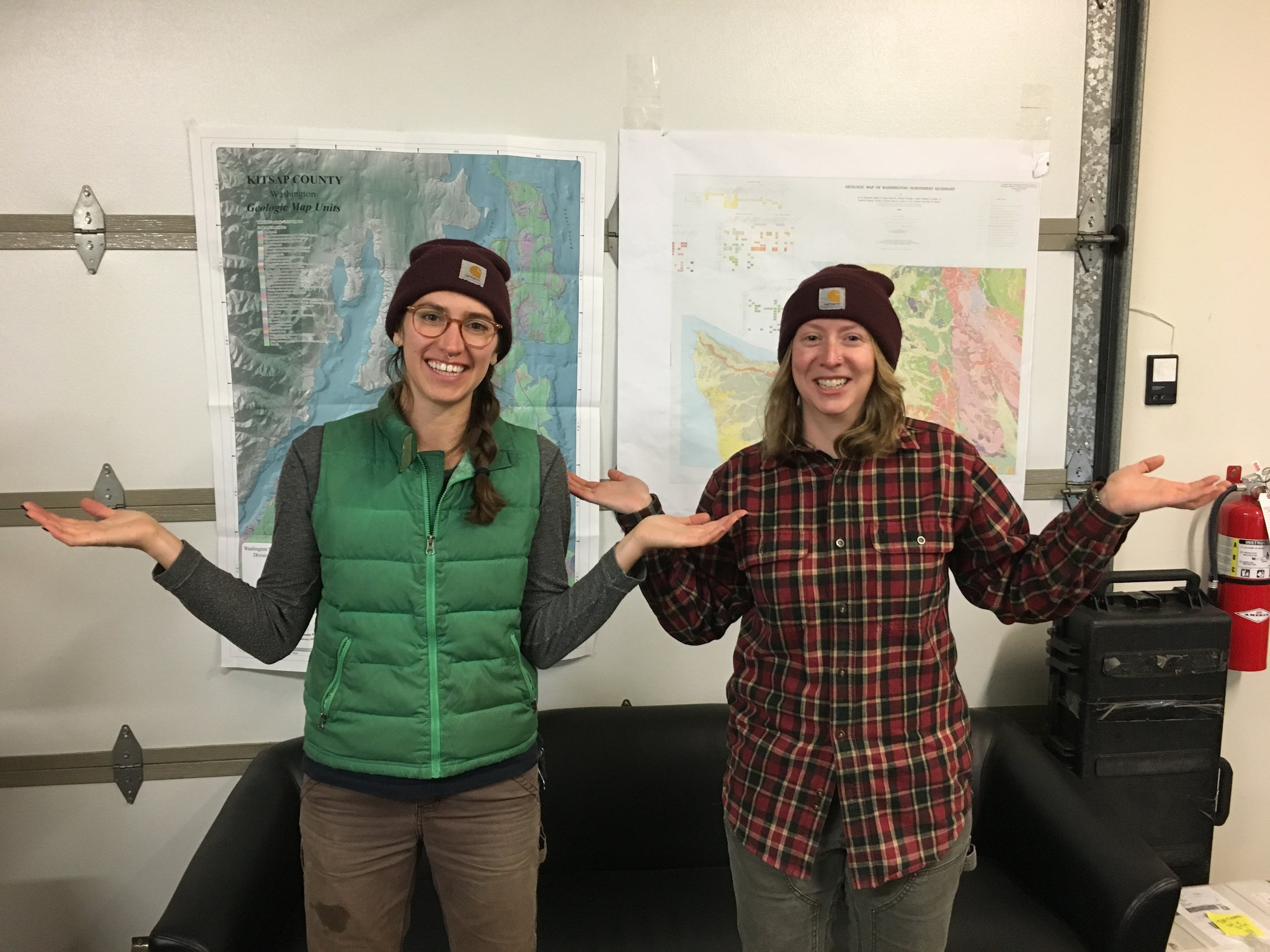 Breeyn Greer, EIT, Staff Environmental Engineer (left) and Amelia Oates, GIT – Staff Geologist (right) at Aspect's Field Annex in Seattle
