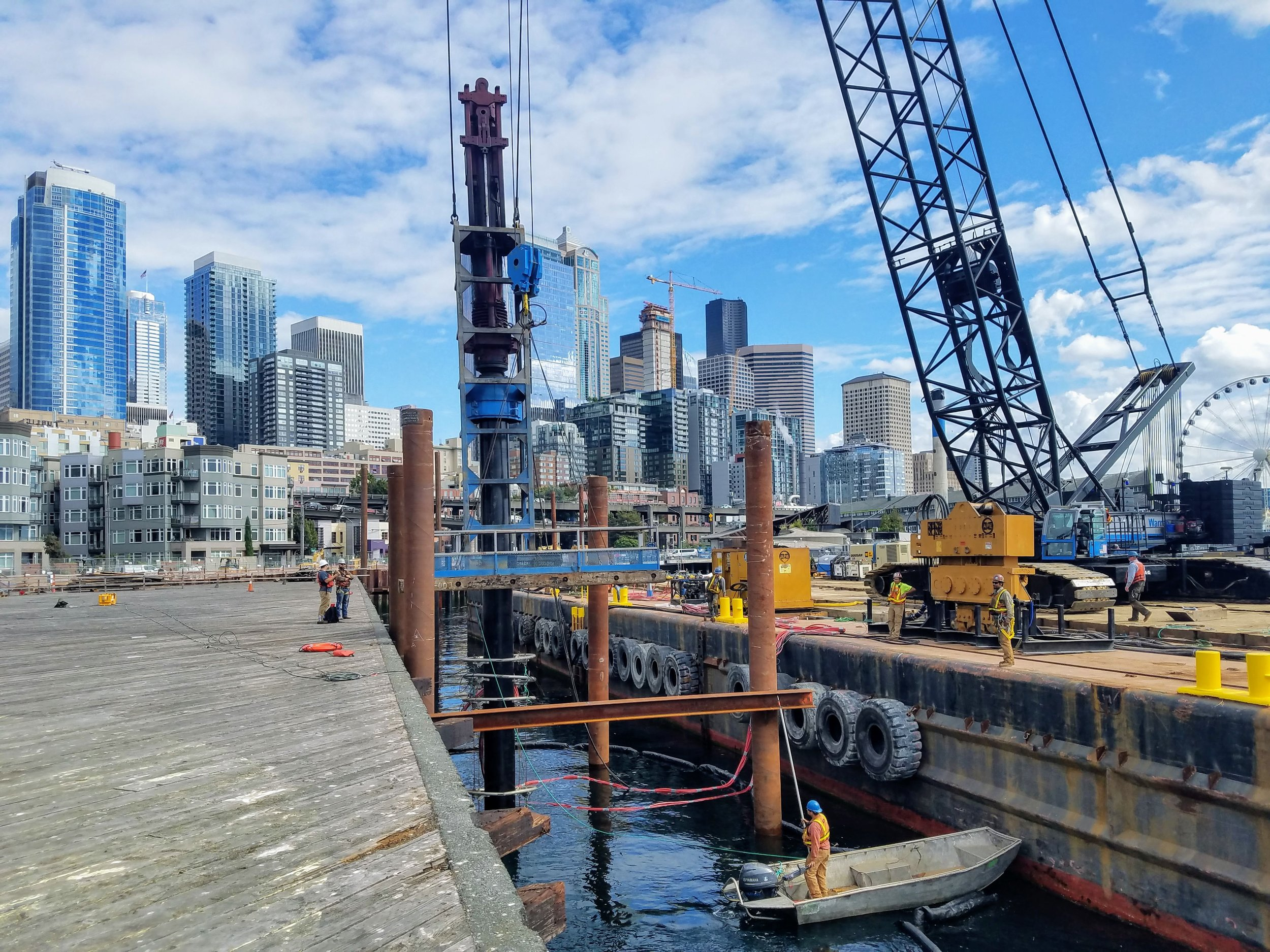 Pier 62 Drilling with Bubble Screen