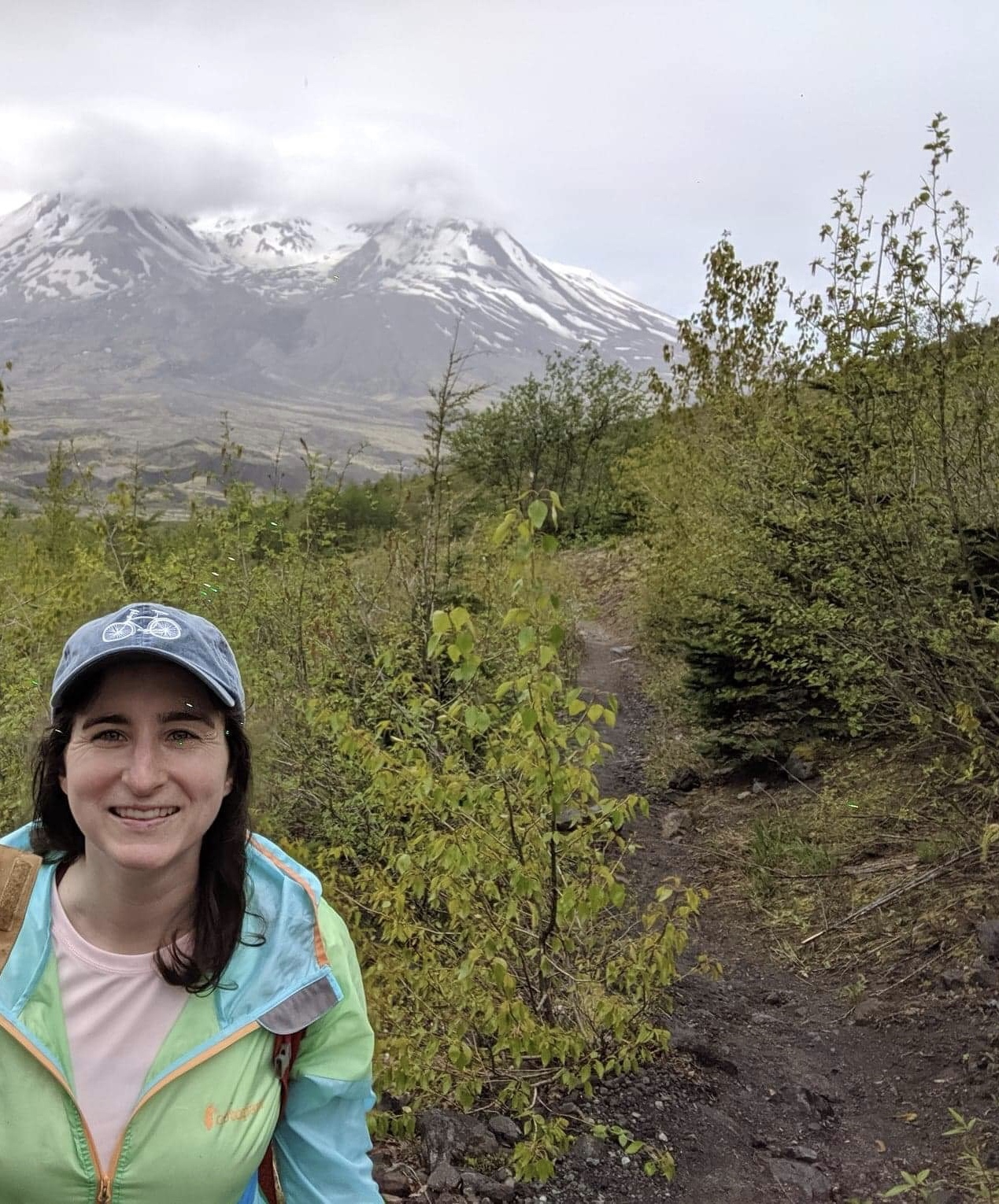 Carly out hiking at Mt. St. Helens