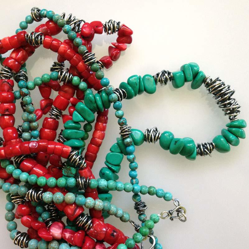 Turquoise and Red Bamboo Coral
