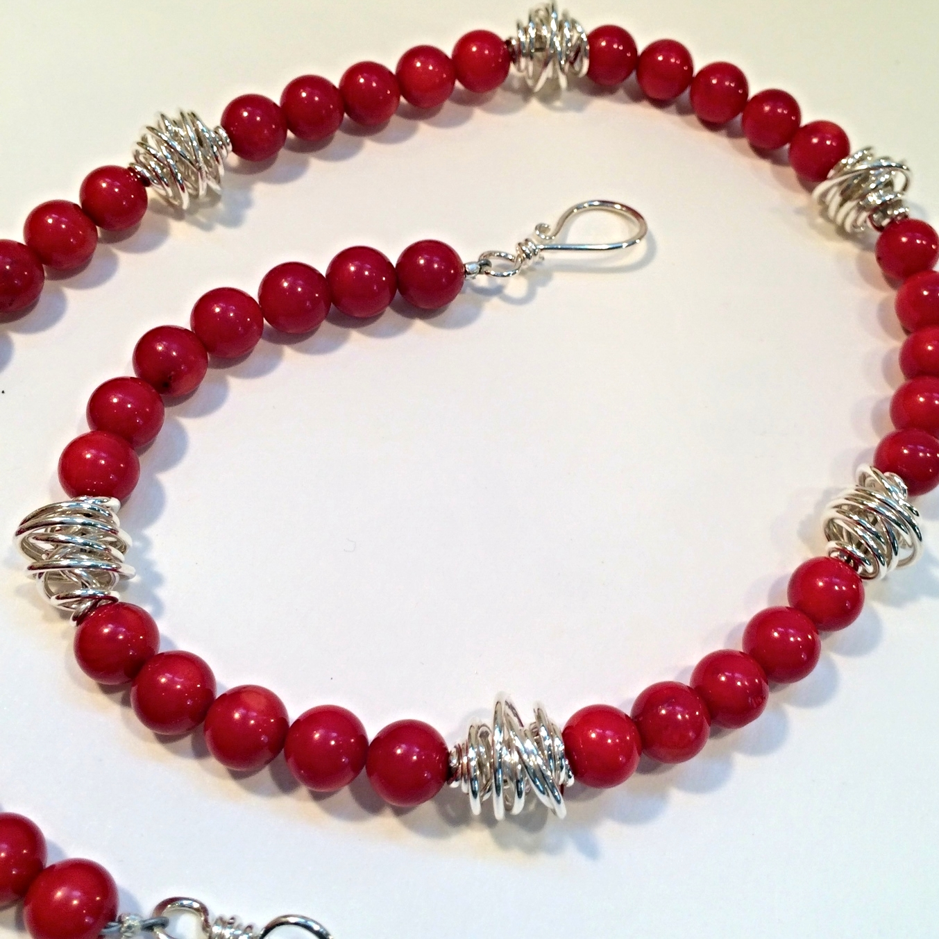 Bright Red Coral and Wind Beads
