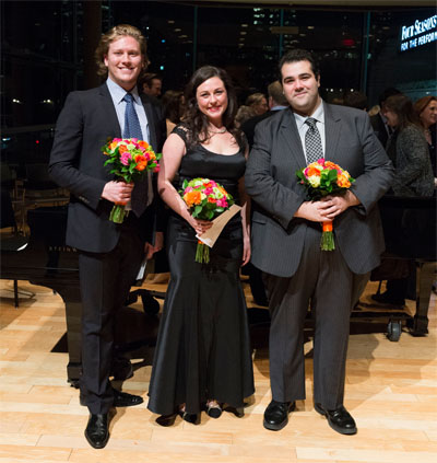 (l-r) First Prize Winner and People's Choice Award recipient  bass  -  baritone  Gordon Bintner, Third Prize Winner mezzo-  soprano  Charlotte Burrage and Second Prize Winner  tenor  Andrew Haji at the COC's Second Annual Ensemble Studio Competition on November 29, 2012 in the Richard Bradshaw Amphitheatre at the Four Seasons Centre for the Performing Arts. Photo: Chris Hutcheson