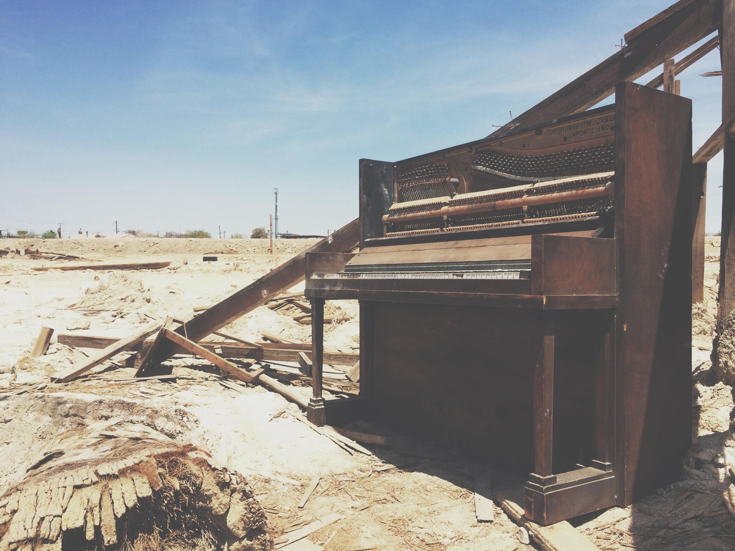 Abandoned piano, Bombay Beach, Salton Sea, CA