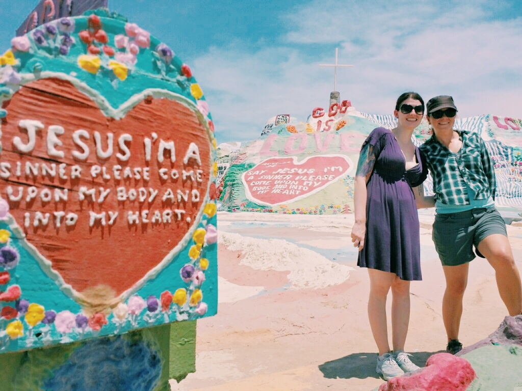 Salvation Mountain. google this, the guy who made it spent 28 years of his life creating it and just recently passed away. I think the guy looking after it was trying to tell us something with this photo he insisted on taking of me and our wonderful host Natalie.