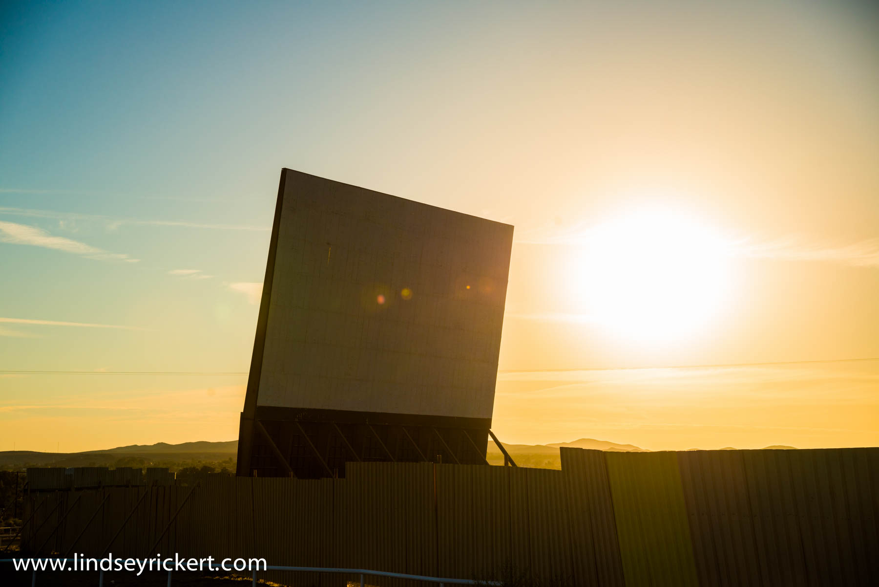 Shot of the screen as we waited to for  Skyline Drive-in  located in Barstow, CA to open up for the night. This place is amazing. Two screens, and a incredible view all the way around. Great place for watching a movie and seeing a breath taking sunset.