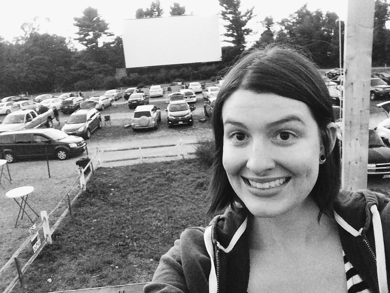 Sitting on the roof of the  Saco Drive-In  waiting for the movie to start. Possibly the best seat in the house!