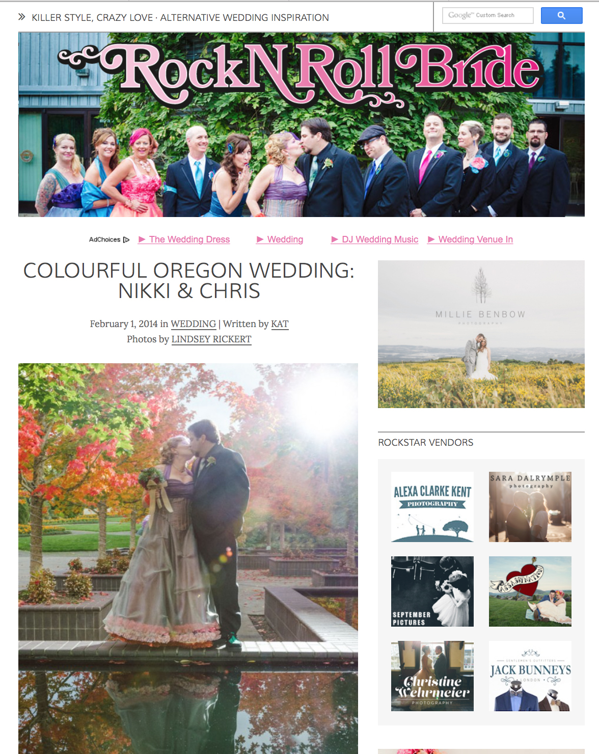 I started off the year right with a wedding feature on  Rock N Roll Bride's  website from Chris & Nikki's 2013 wedding. It was an honor to have my images featured in a publication that markets to the exact clients I am interested in working with. Unconventional, fun, and creative.