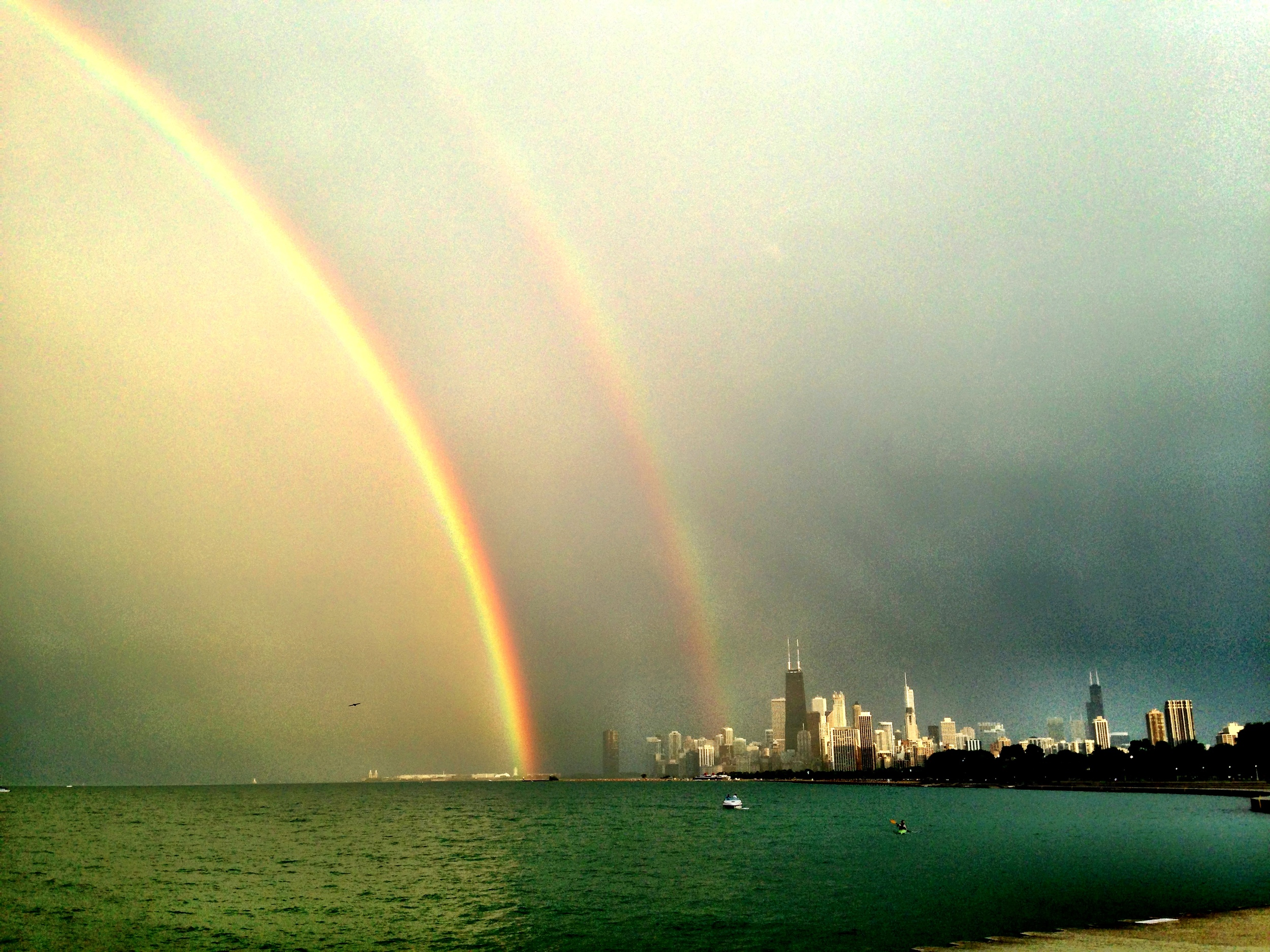 The wondrous, magnificent DOUBLE RAINBOW! Click on it to make it huge.