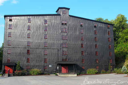 Black painted Barton aging warehouse