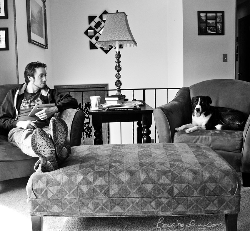 Eric and Whiskey conversing over Saturday morning coffee.