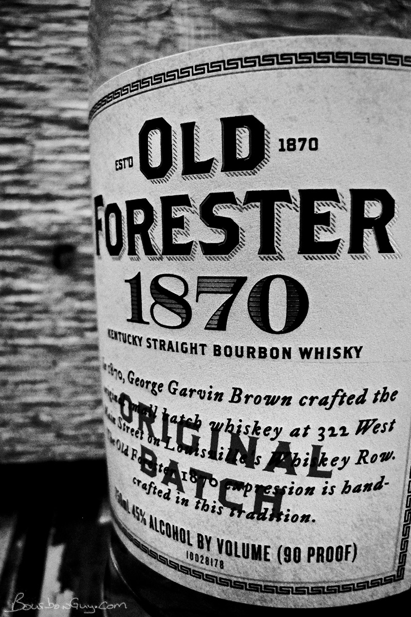 A close up of the label of a bottle of Old Forester 1870 Original Batch.