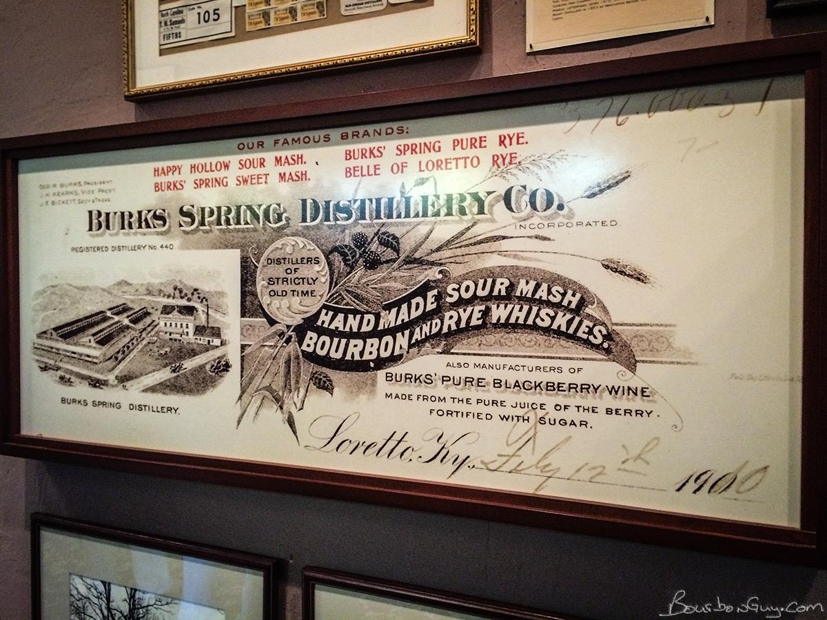 Enlarged and framed Burks Spring Distillery letterhead. (Future home of Maker's Mark.)