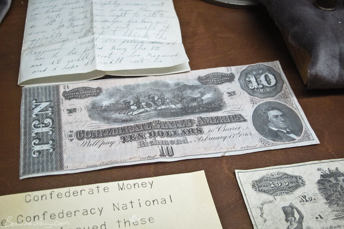 An example of the age of the exhibits, the notecards were created on a typewriter.