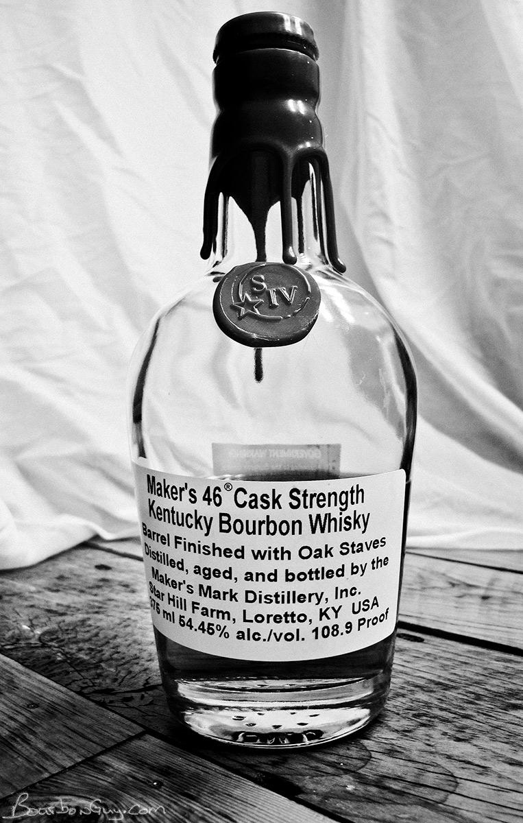Maker's 46 Cask Strength. Plain packaging hides tasty bourbon.