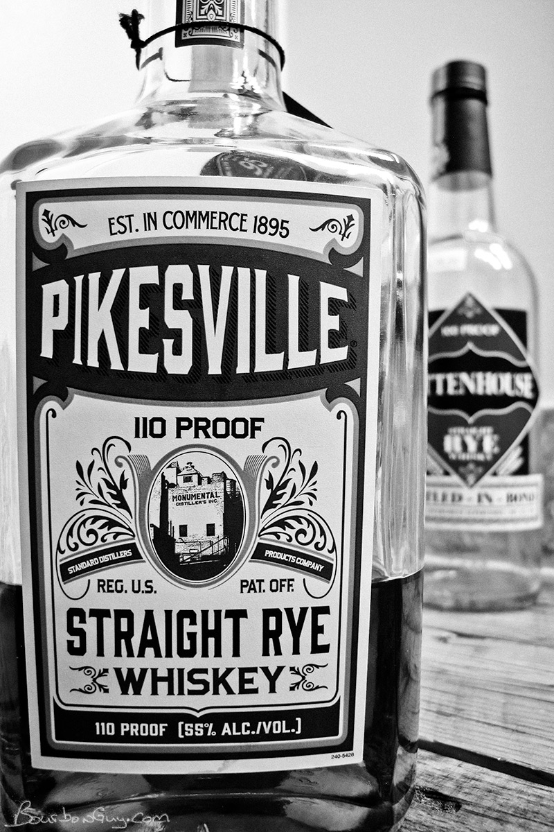 Pikesville Straight Rye Whiskey with it's cousin, Rittenhouse, in the background