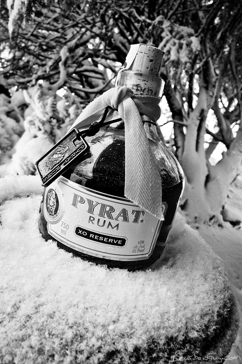 Pyrat XO Reserve Rum in the snow, because fuck winter.