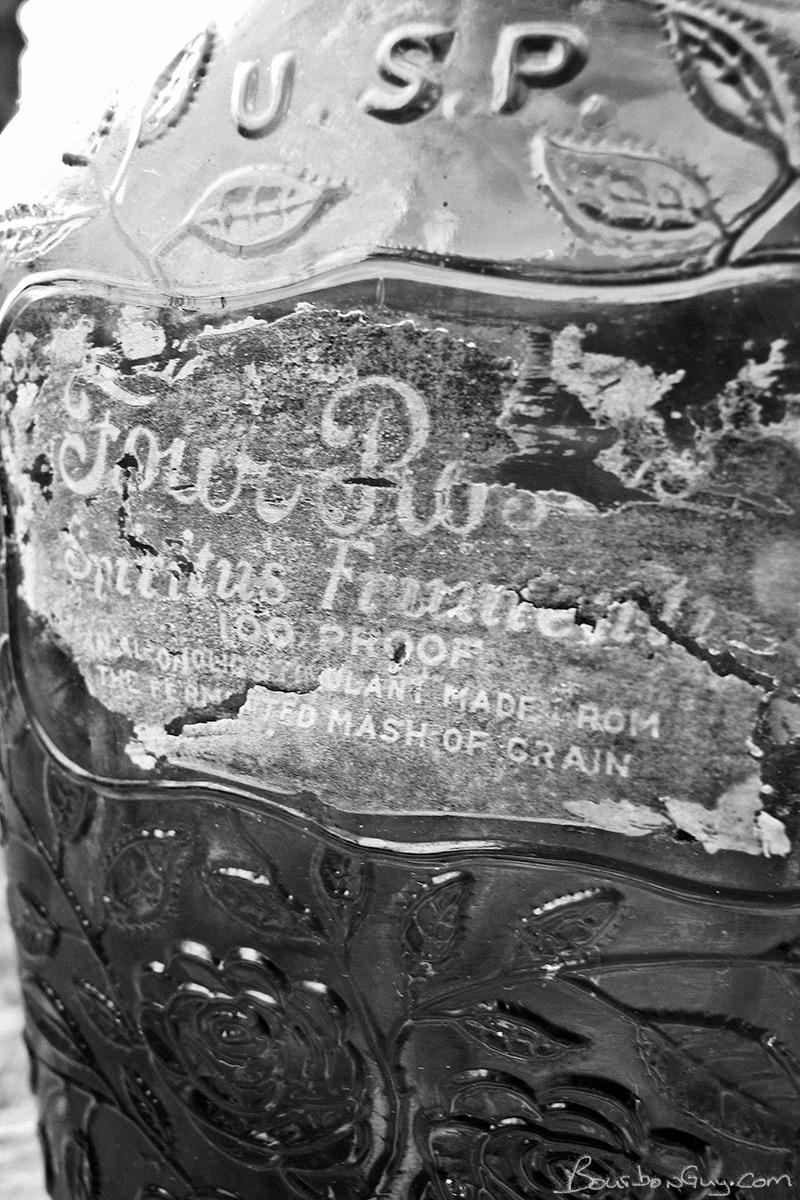 Spiritus Frumenti. Four Roses medicinal whiskey bottle.