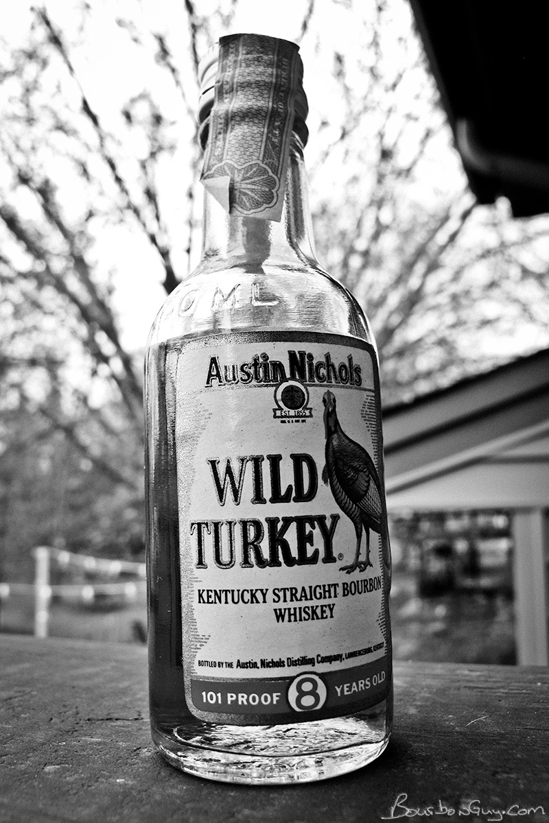 A miniature bottle of Wild Turkey 101 proof from 1979.