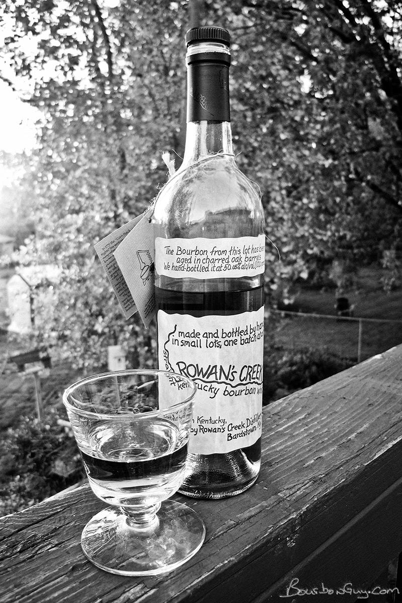 Rowan's Creek bourbon and a glass of the same.