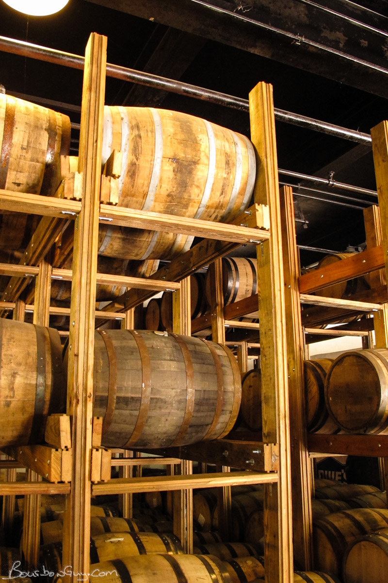 Aging Racks built from wood reclaimed from the Old Crow Distillery