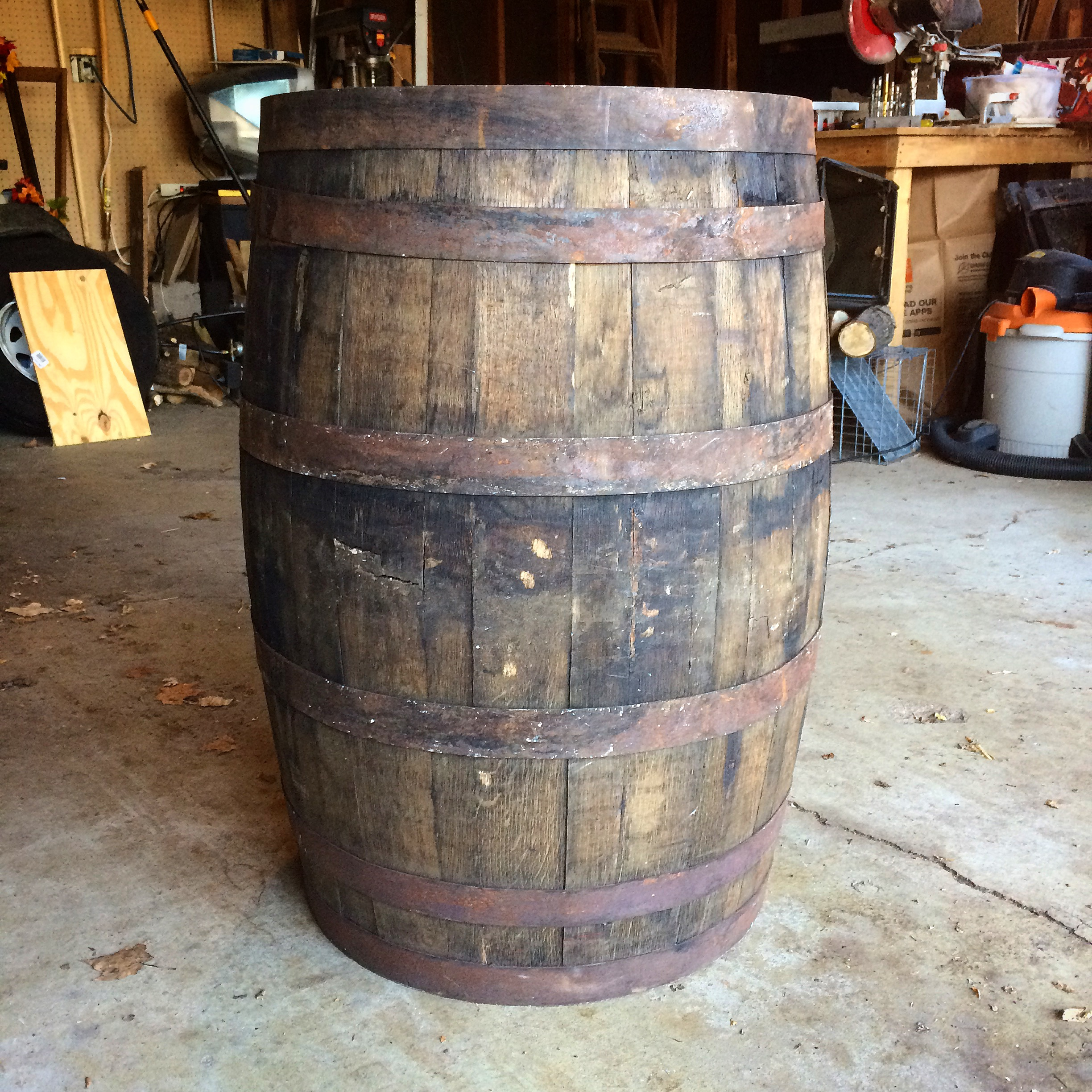 A used bourbon barrel ready to be dismantled.