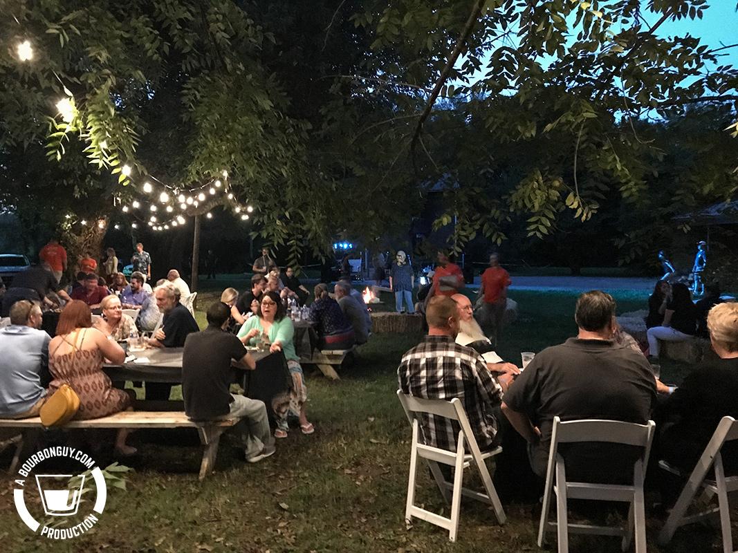 outdoor crowd after dark