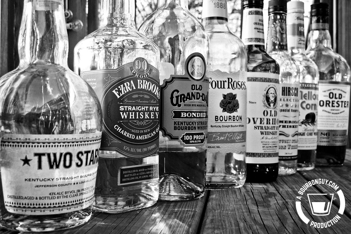 Old Forester, Mellow Corn, Hirsch, Old Overholt, Four Roses, Old Grand-Dad, Ezra Brooks Rye, Two Stars