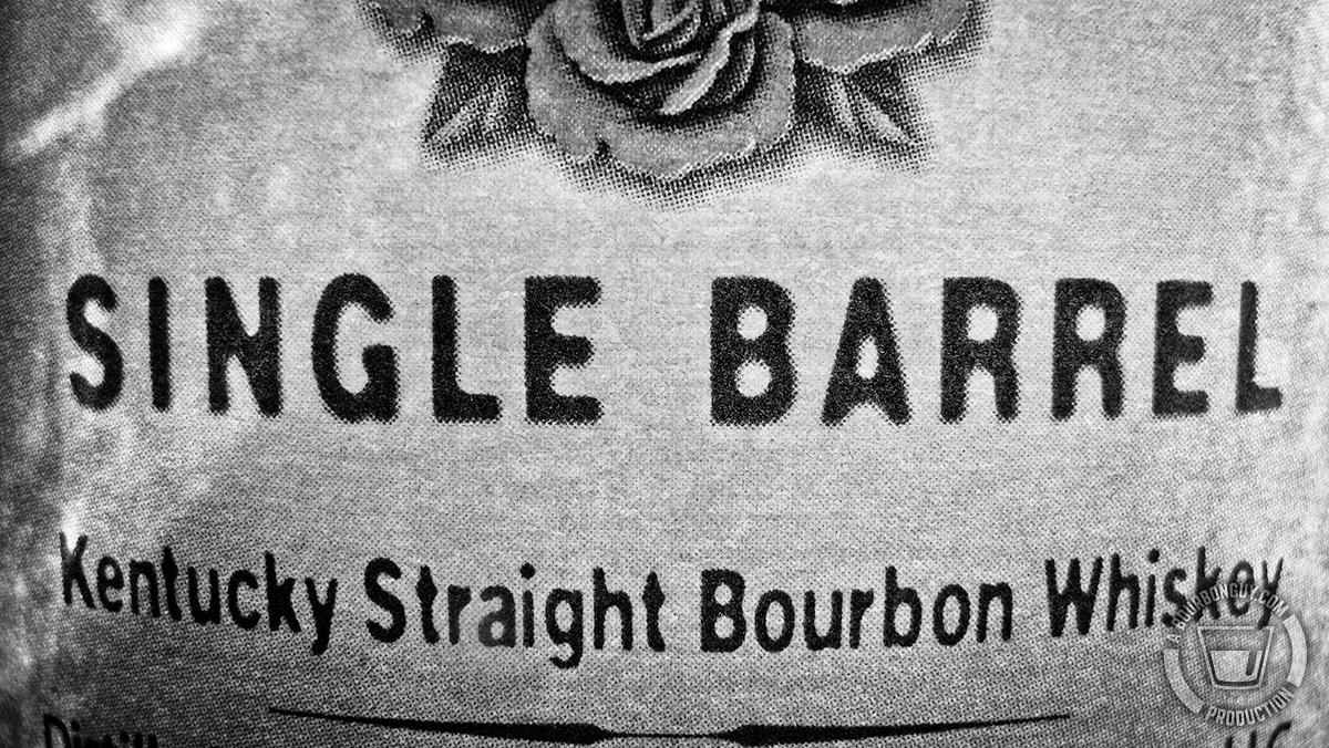 Image: Close up of part of the label for Four Roses Single Barrel.