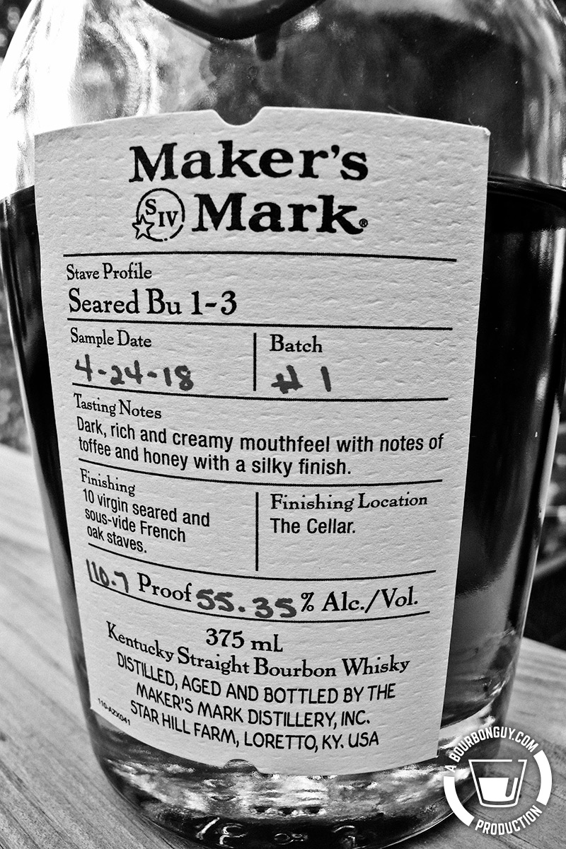 Image: close up of the label of the Maker's Mark: Seared Bu 1-3 bottle