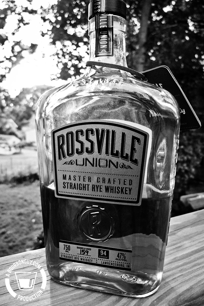 IMAGE: a bottle of Rossville Union Master Crafted Straight Rye Whiskey produced by MGP in Lawrenceburg Indiana