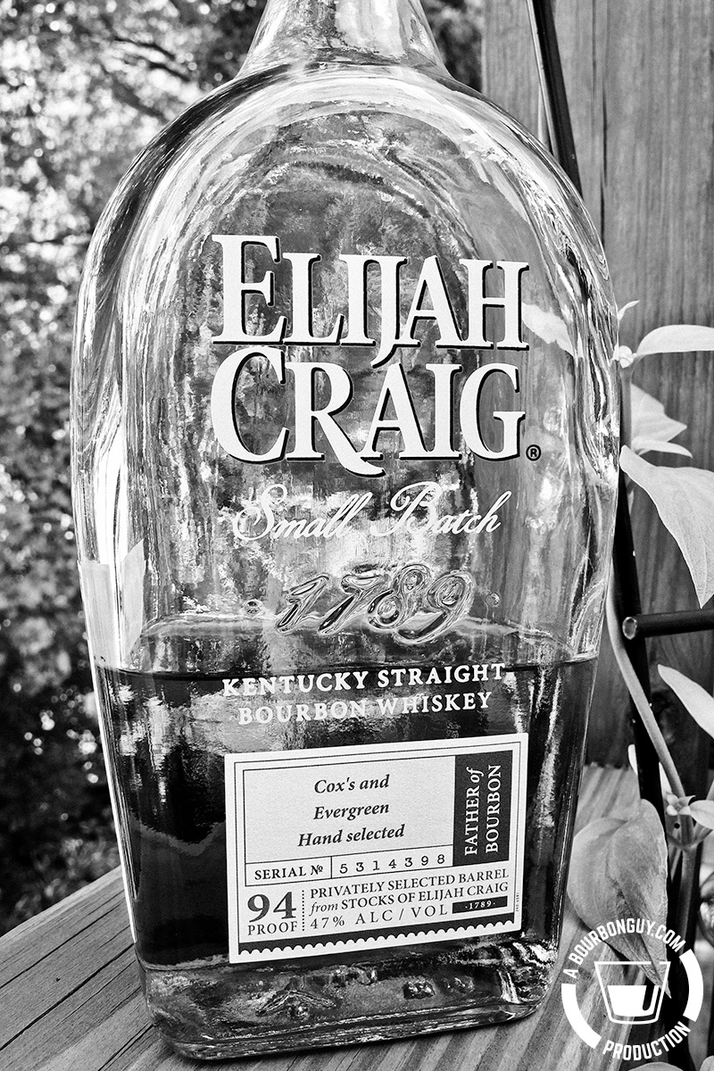 IMAGE: A bottle of Elijah Craig. This one a hand selected barrel by Cox's and Evergreen Liquors in Louisville, KY