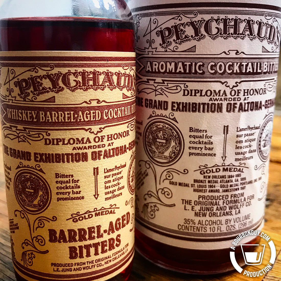 IMAGE: Two bottles of Paychaud's Bitters. One Barrel-aged, one standard.