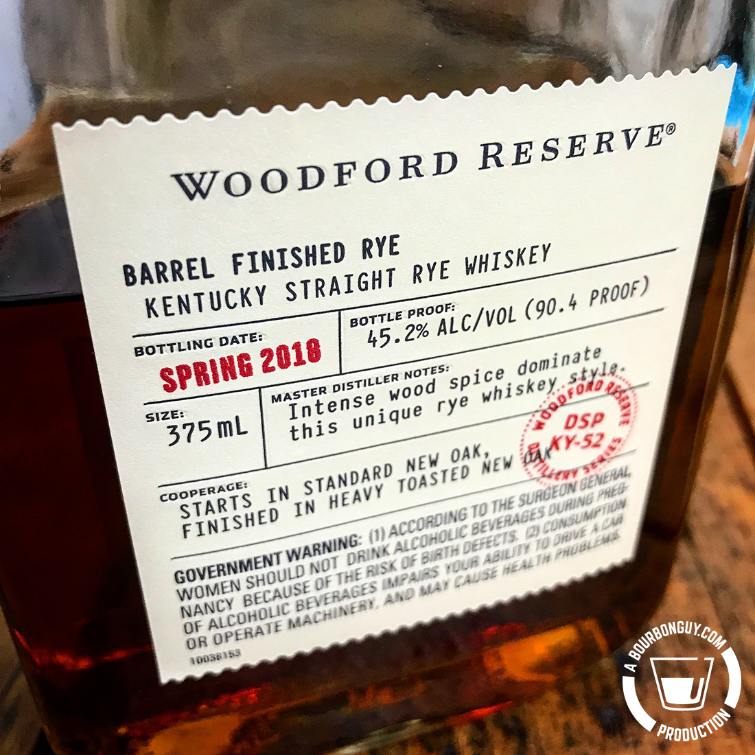 IMAGE: the front label of Woodford Reserve Distillery Series: Barrel Finished Rye