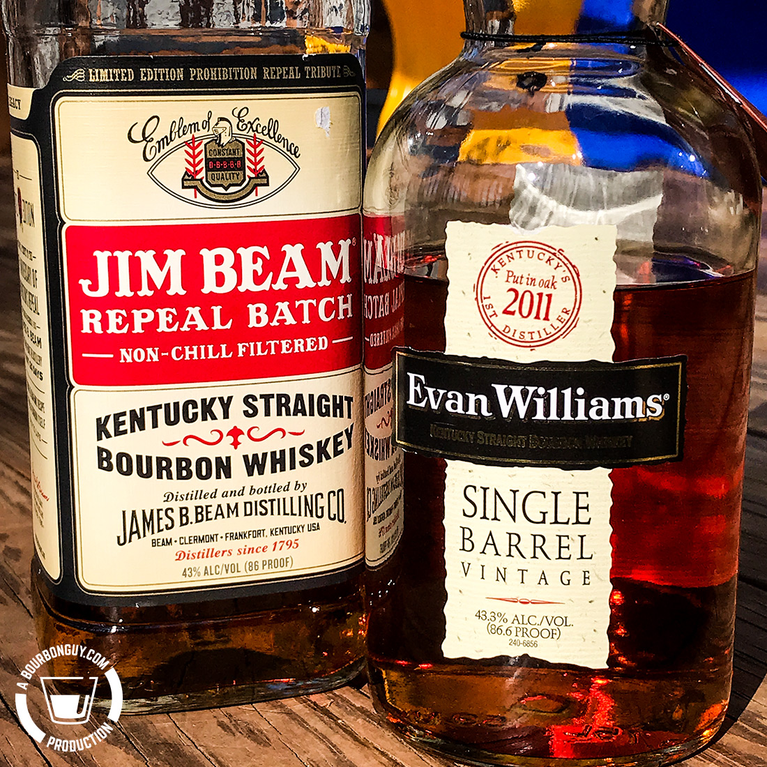 IMAGE: The front labels of Evan Williams Single Barrel Vintage 2011 and Jim Beam Repeal Batch