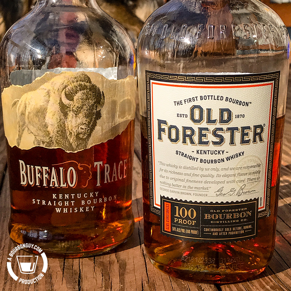 IMAGE: the front labels of Buffalo Trace and Old Forester Signature 100 proof.